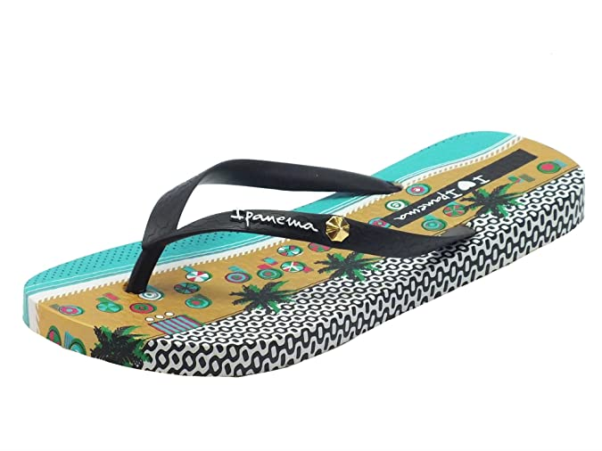 Ipanema Infradito I Love Tribal per Donna in Caucciù Nero Zeppa Multicolore (Taglia 35/36)