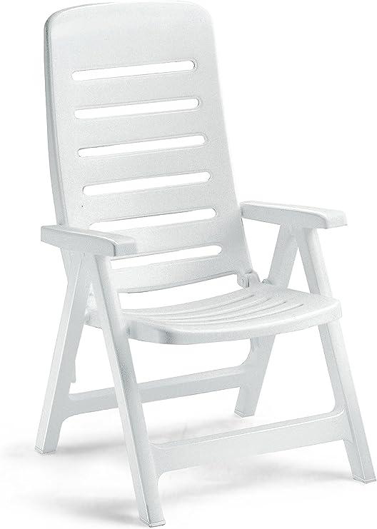 Ideapiu - Sillón de resina blanca, silla plegable de exterior, sillón de plástico ajustable, sillón: Amazon.es: Hogar