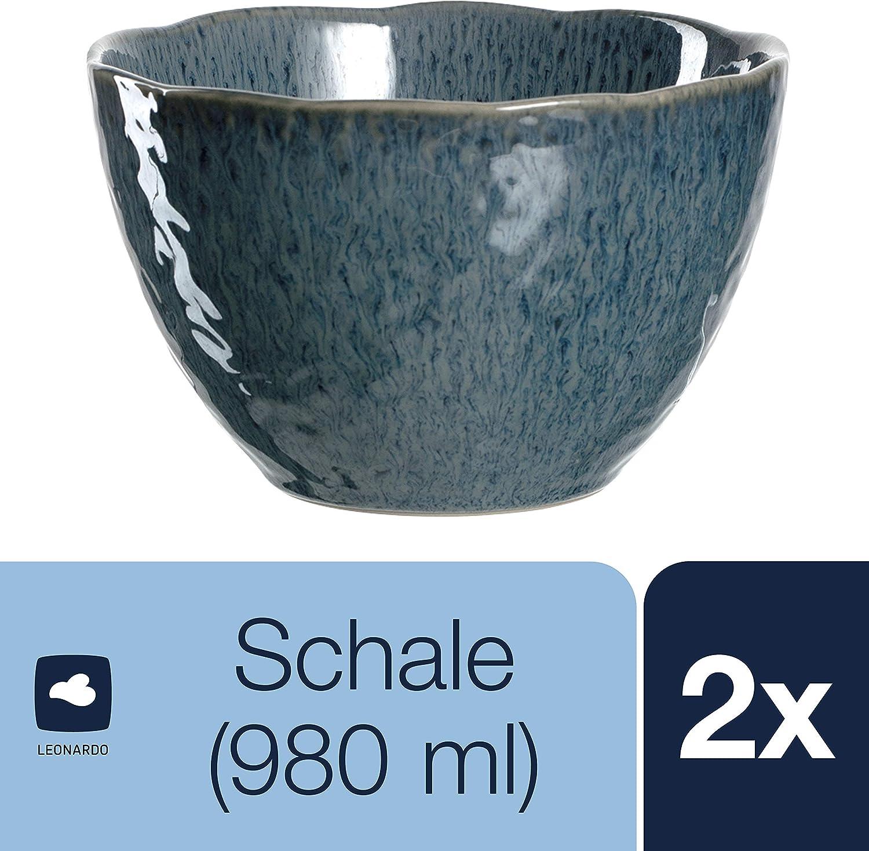 Leonardo Keramikschalen MATERA 4er-Set Schale Keramik Anthrazit Blau 15.3 cm