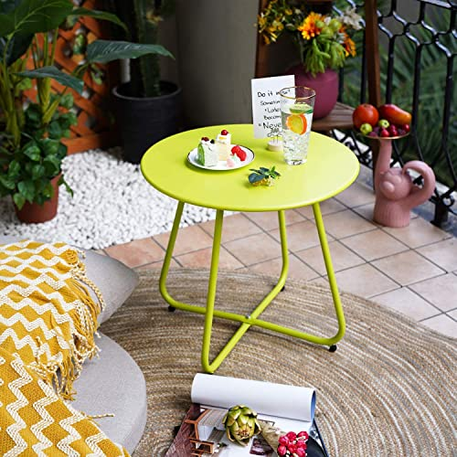 Grand patio Premium Indoor/Outdoor Round Metal Weather-Resistant Side/Accent Table