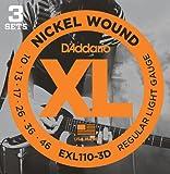 D'Addario EXL110-3D XL Nickel Wound Regular Light  (.010-.046) Electric Guitar Strings 3-Pack