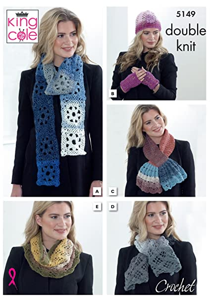 Amazon King Cole Ladies Accessories Crochet Pattern Scarf Hat