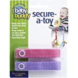 Baby Buddy Secure-A-Toy, Safety Strap Secures Toys, Teether, or Pacifiers to Strollers, Highchairs, Car Seats—Adjustable Length to Keep Toys Sanitary Clean Pink-Lilac 2 Count