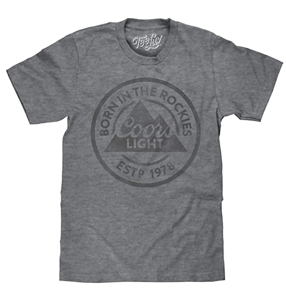 33efd5f1a433c Tee Luv Coors Light T-Shirt - Born in The Rockies Coors Beer Shirt  (Graphite)