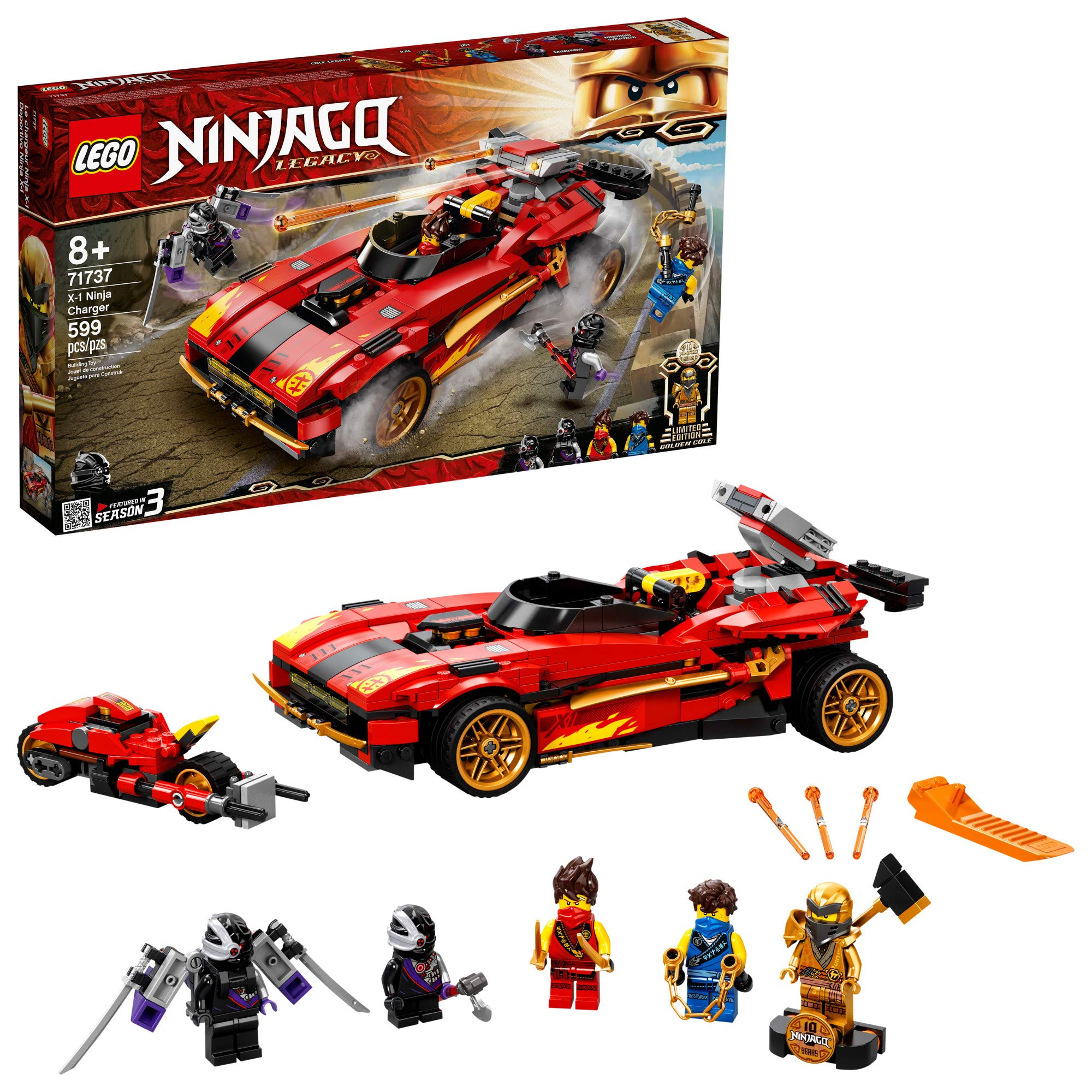 LEGO NINJAGO Legacy X-1 Ninja Charger 71737 Ninja Toy Building Kit Featuring Motorcycle and Collectible Minifigures, New 2021 (599 Pieces)
