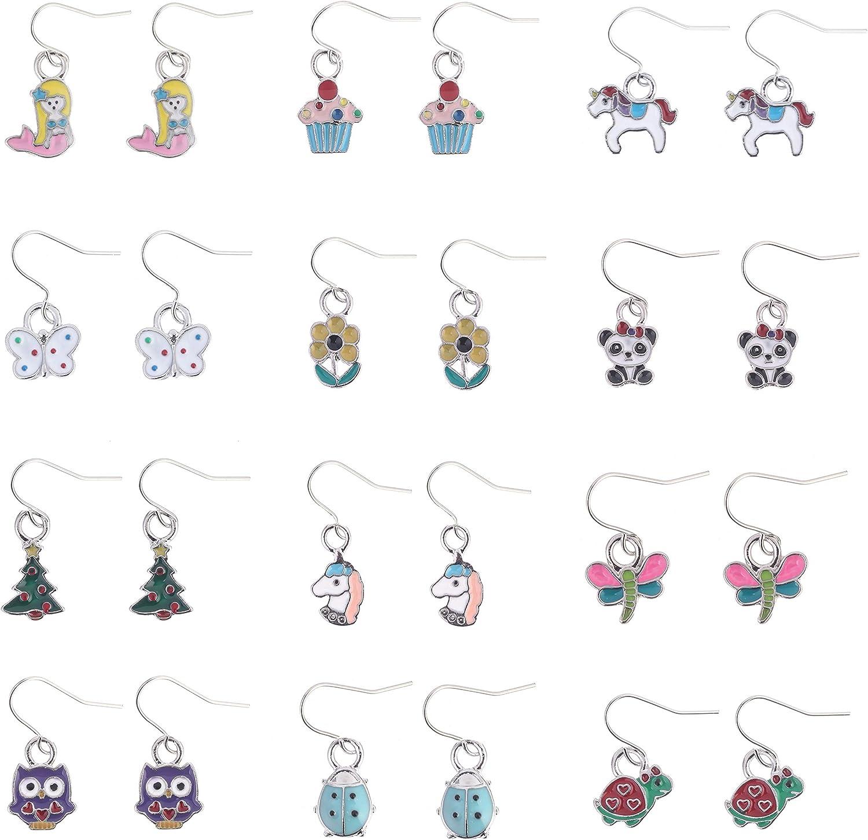 Amazon.com: 12 Pairs Drop Earrings Girls Multiple Cute Animals owl  butterfly Ladybug Daisy Mermaid Unicorn Stud earring Set For children teen  girls Gift: Clothing