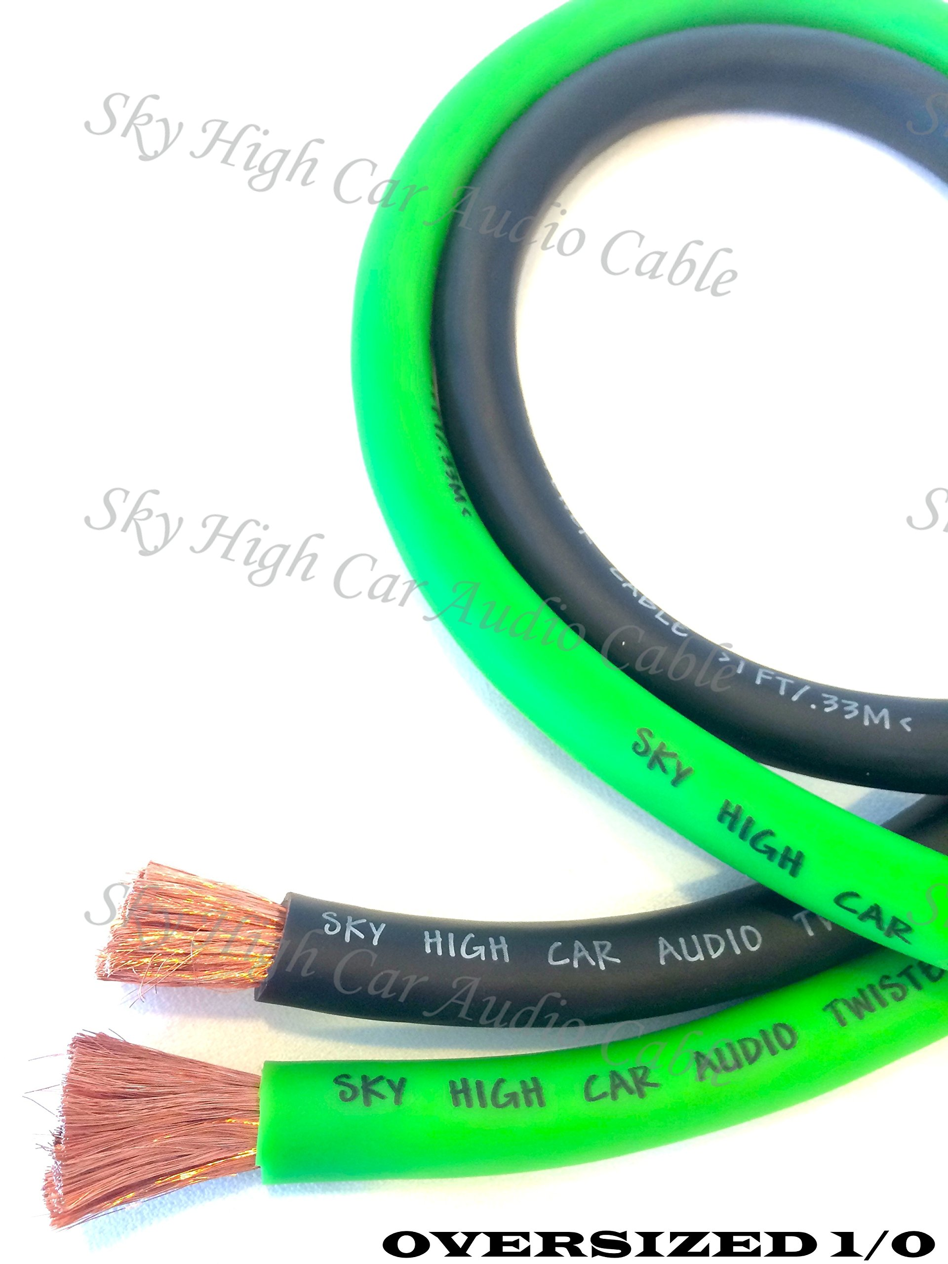 20 ft CCA 1/0 Gauge Oversized 10' GREEN & 10' BLACK Power Ground Wire Sky High Car