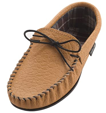 adc63ab97b6 Lambland Mens Genuine Leather Fabric Lined Moccasin Slippers in Tan Size UK7