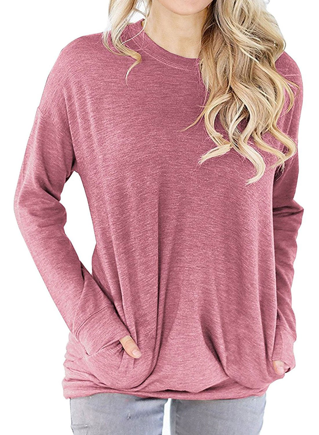 Lyxinpf Women's Casual Round Neck Sweatshirts Slouchy Pockets Pullover Long Sleeve Loose T Shirts Blouses Tops Light Red S
