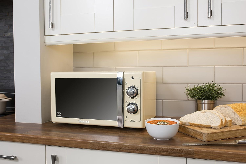 SWAN Retro Manual Microwave, 25 Litre, 900 W, Cream