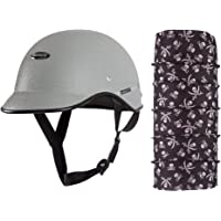 Habsolite All Purpose Safety Helmet with Strap (Grey, Free Size) and Autofy Pirate Skull Print Lycra Headwrap Bandana for Bikes (Black and White, Free Size) Bundle