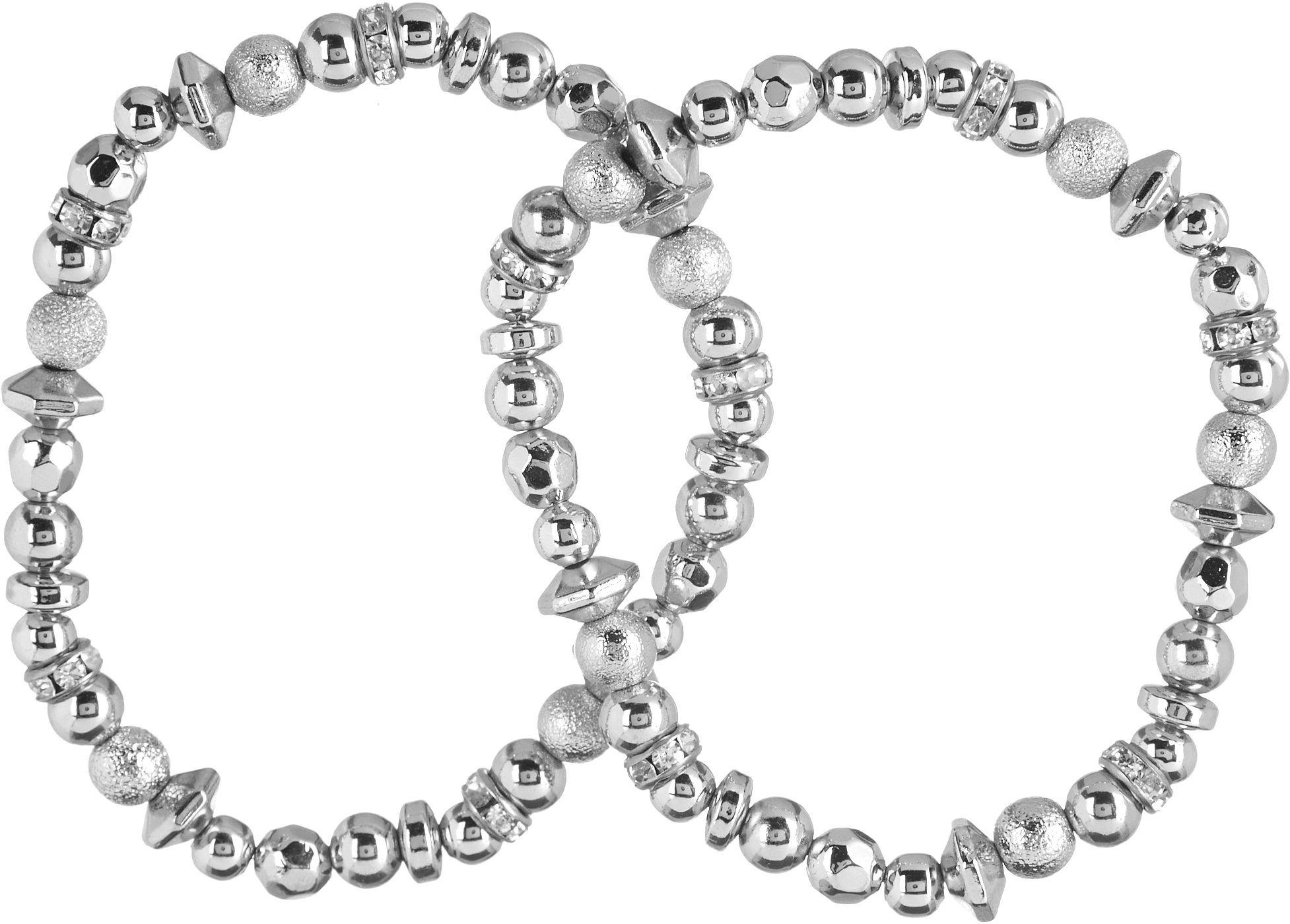 Nine West Nw Boxed Gifting Silver-Tone 2 Piece Stretch Bracelet