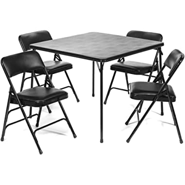 5pc. XL Series Folding Card Table and Triple Braced Vinyl Padded Chair Set, Commercial Quality, Black