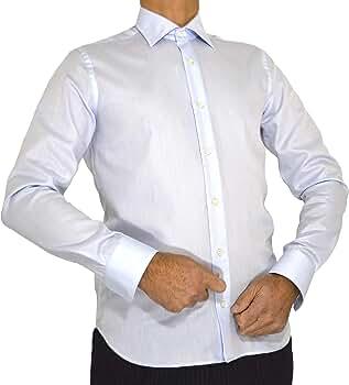 E. MECCI Camisa de Hombre Made in Italy, 100% algodón, No Iron, Slim Fit, Manga Larga (39 IT Hombre): Amazon.es: Ropa y accesorios