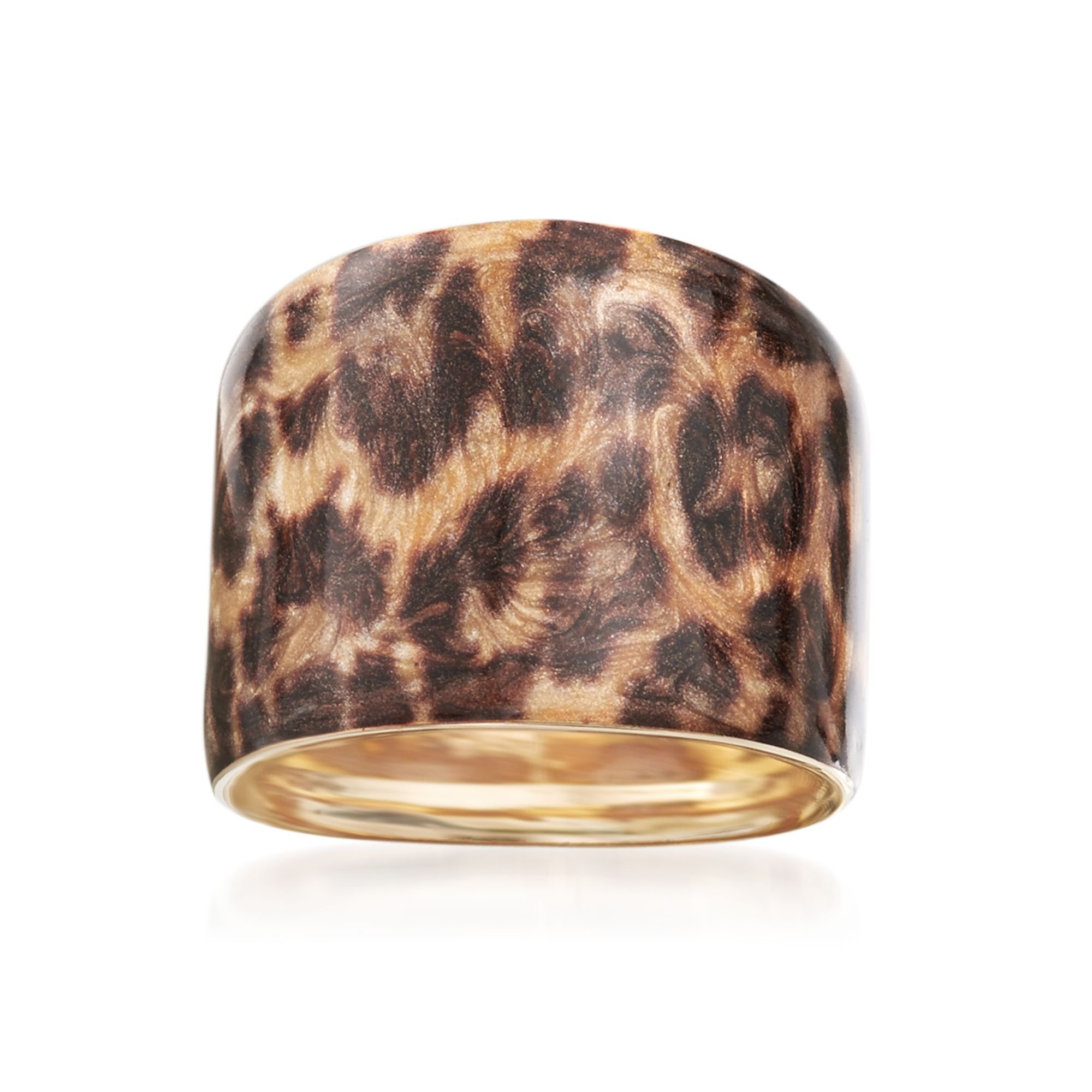 Ross-Simons Italian 14kt Yellow Gold Ring with Leopard Print Enamel