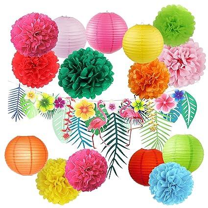 Amazon Com Hawaiian Luau Party Decorations Tropical Tiki Hibiscus