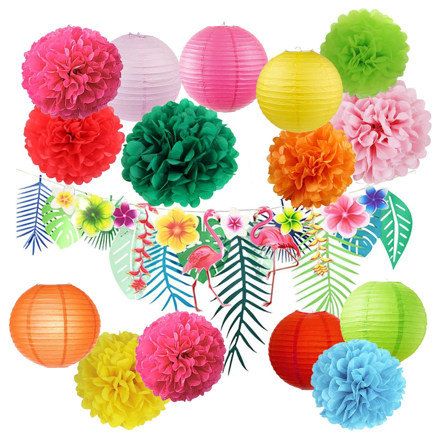 Hawaiian Luau Party Decorations Tropical Tiki Hibiscus Flowers and Flamingos Banner Large Artificial Tropical Leaves Banner Garland Tissue Paper Pom Poms Flowers Paper Lanter For Summer Party Supplies by Sorive