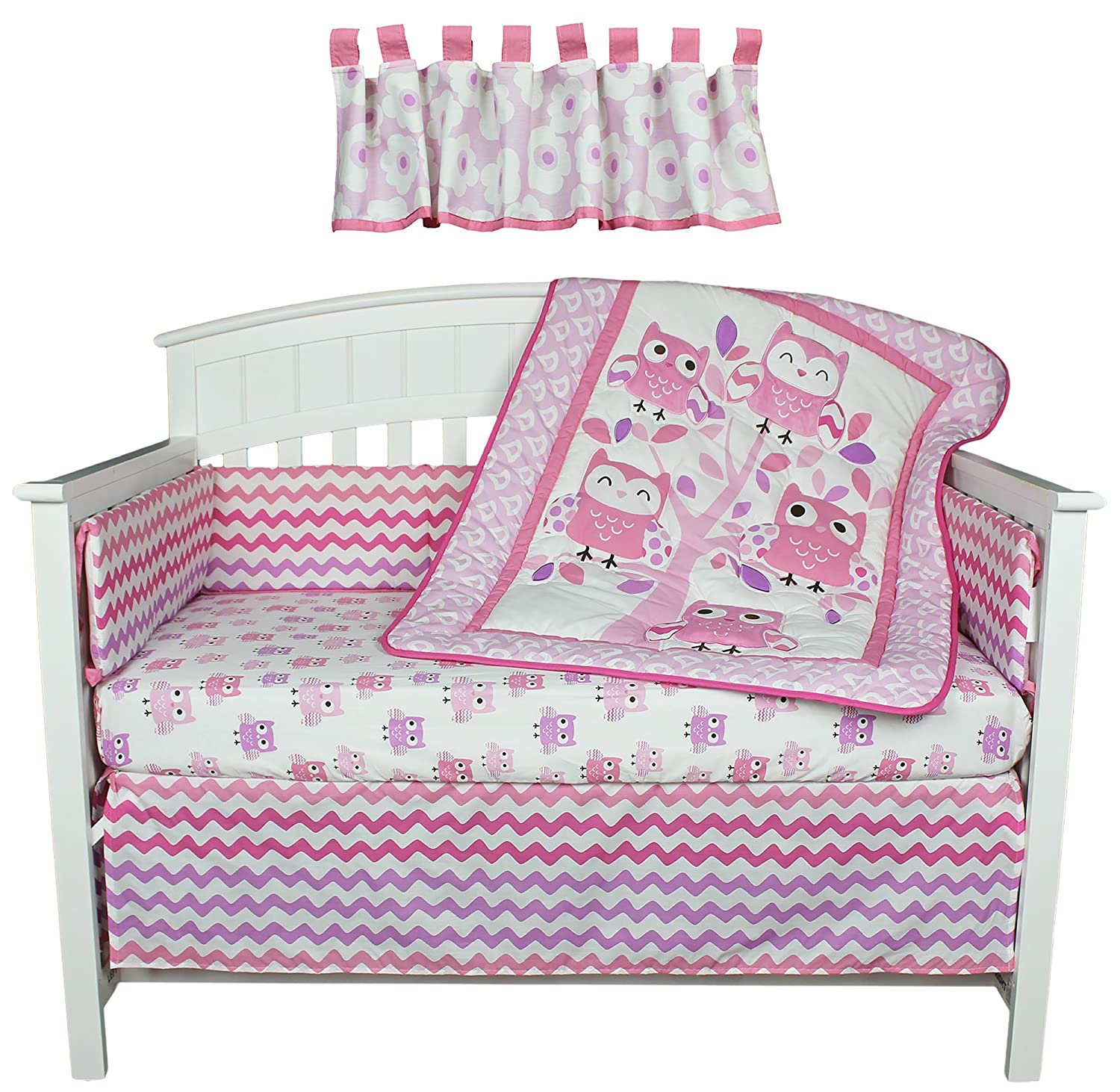 Dancing Owls Zig Zag Pink and Purple 5 Piece Baby Girl Crib Bedding with Bumper by Belle