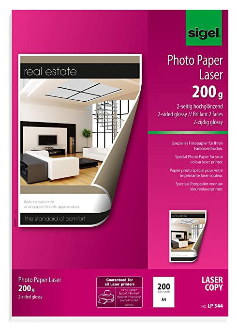 Amazon.com: Sigel LP344, doble cara brillante de papel ...