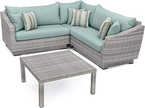 RST Brands 4-Piece Cannes Sectional and Conversation Table Patio Furniture Set, Slate Gray