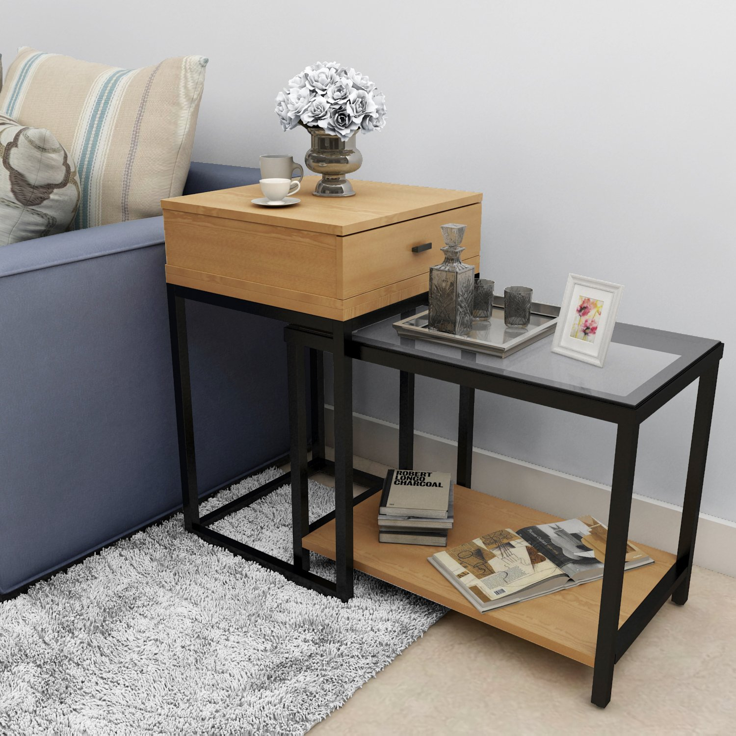 Lifewit 2 piece end table nesting sofa side table set coffee lifewit 2 piece end table nesting sofa side table set coffee accent table with drawer watchthetrailerfo