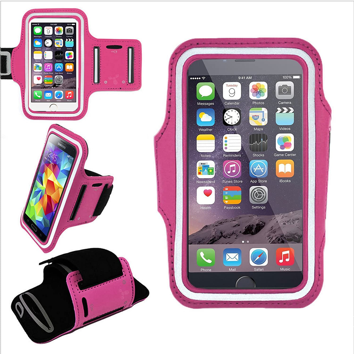 new style e4343 6a832 EpicGadget(TM) Best Running Armband for Apple iPhone 6 Plus 6 5S 5C 5 4S 4,  Samsung Galaxy S6 S6 Edge S5 S4 S3, Galaxy Note 4 3 2 1, HTC M9 M8 M7, LG  ...