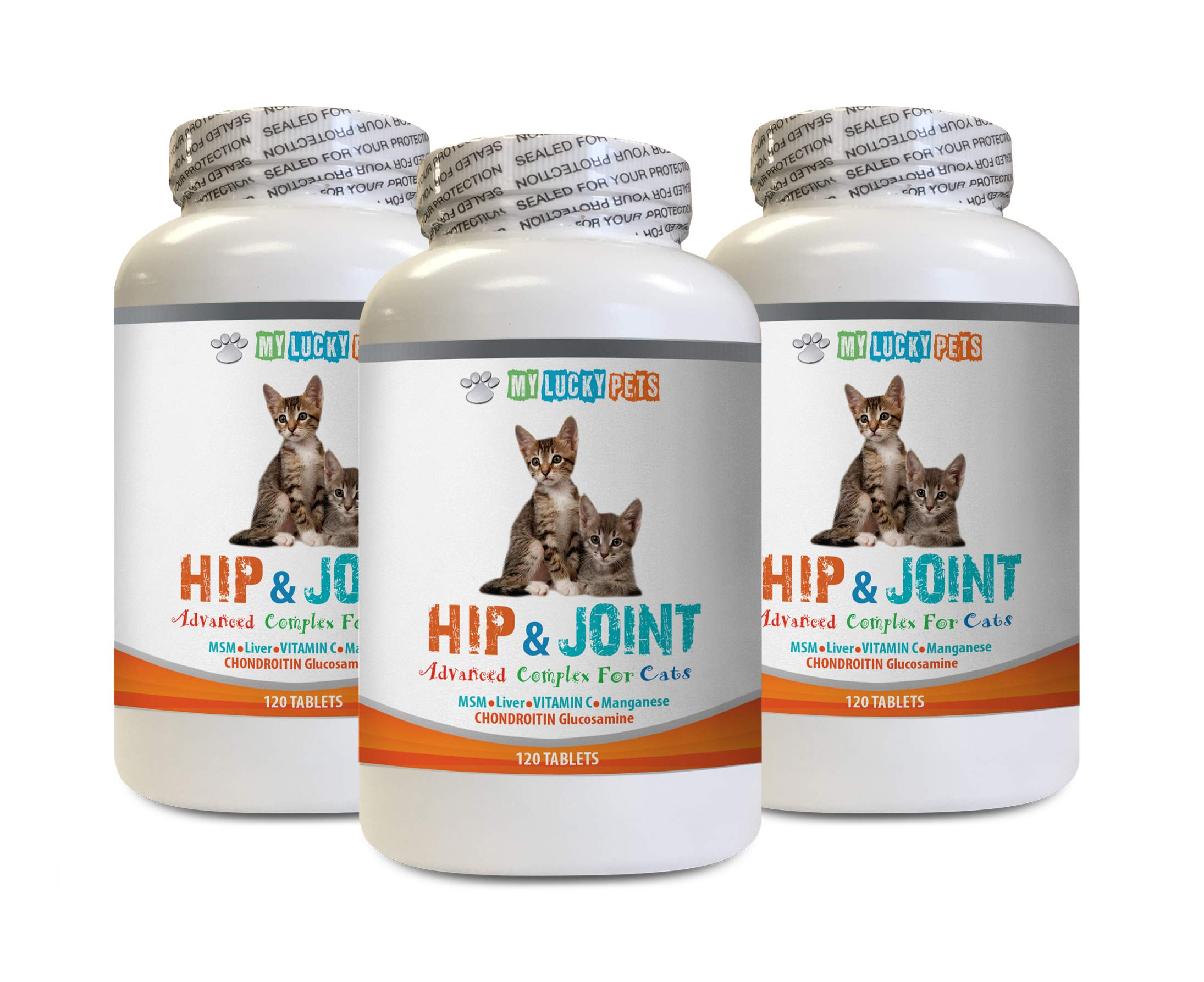MY LUCKY PETS LLC cat Stiff Joints - CAT Hip and Joint Complex - Increase Mobility and Reduce Joint Stiffness - Immune Support - Vet Approved - cat Vitamins glucosamine - 3 Bottles (360 Tabs) by MY LUCKY PETS LLC