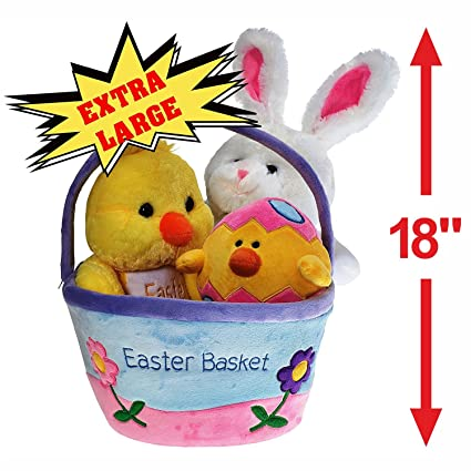 Amazon plush easter basket for baby toddler kids of all plush easter basket for baby toddler kids of all ages set includes plush negle Image collections