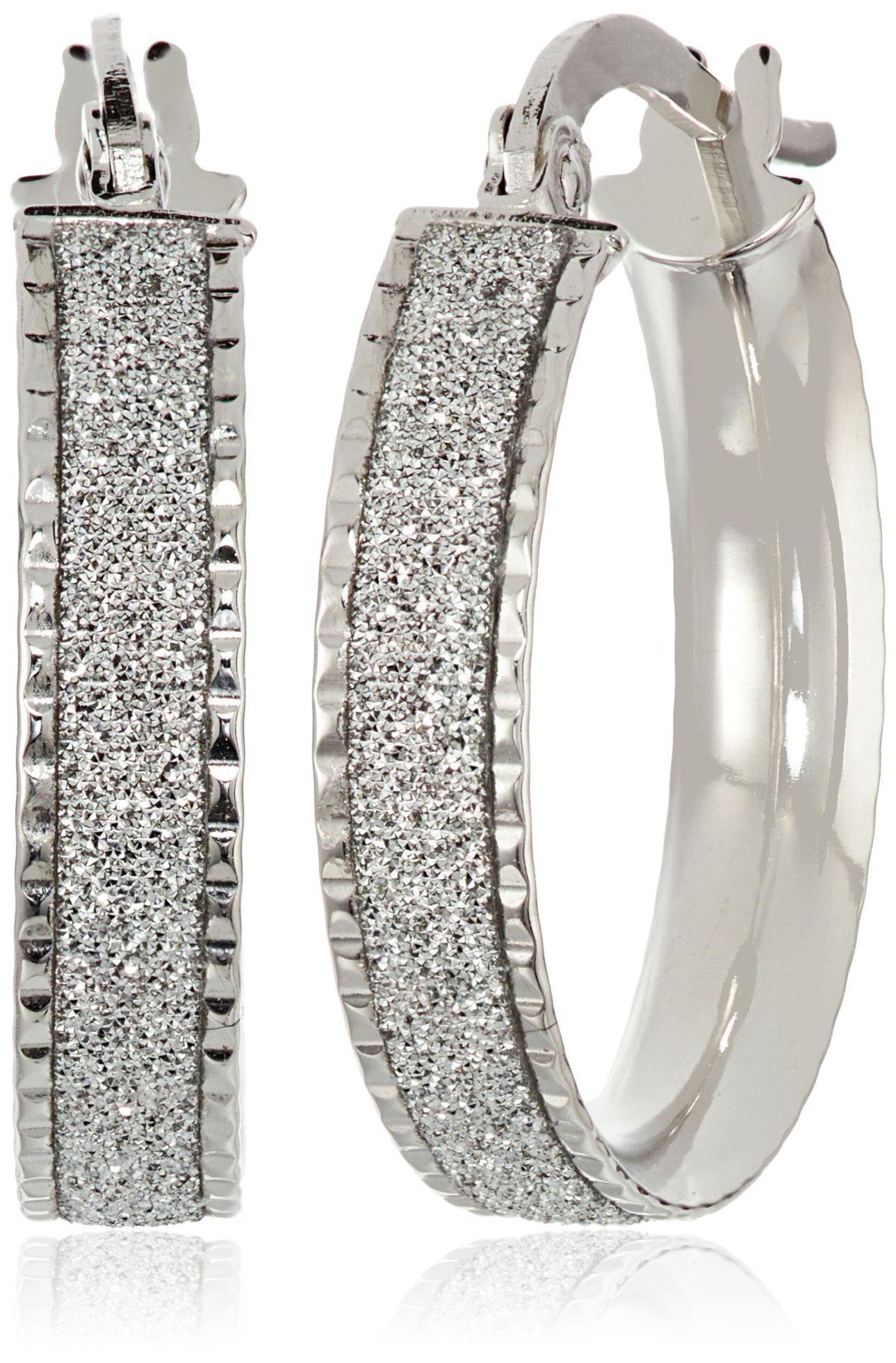 14k Italian White Gold Glitter Hoop Earrings