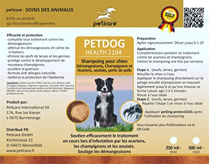 Peticare Petdog Health 2104 Special Shampoo For Dogs Flea Mite And Fungal Infections Amazon Co Uk Pet Supplies