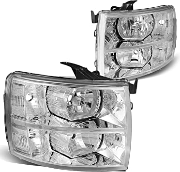 DNA Motoring HL-OH-CSIL07-CH-AM Headlight For 07-14 Chevy Silverado Driver and Passenger Side