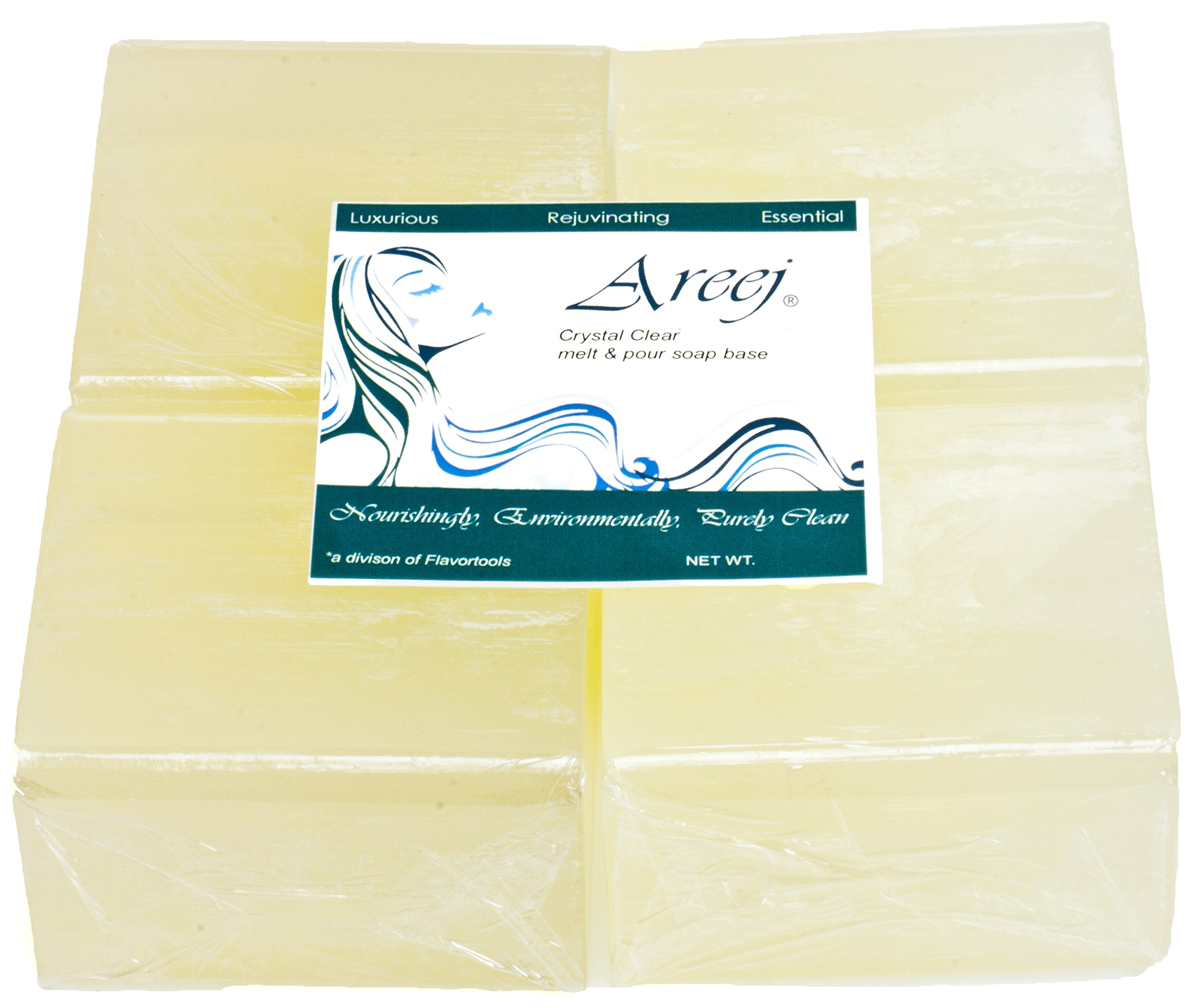 Areej Hypo-Allergenic Biodegradable Crystal Clear Soap Base made with 100% Pure Natural Glycerin - 10 Pounds