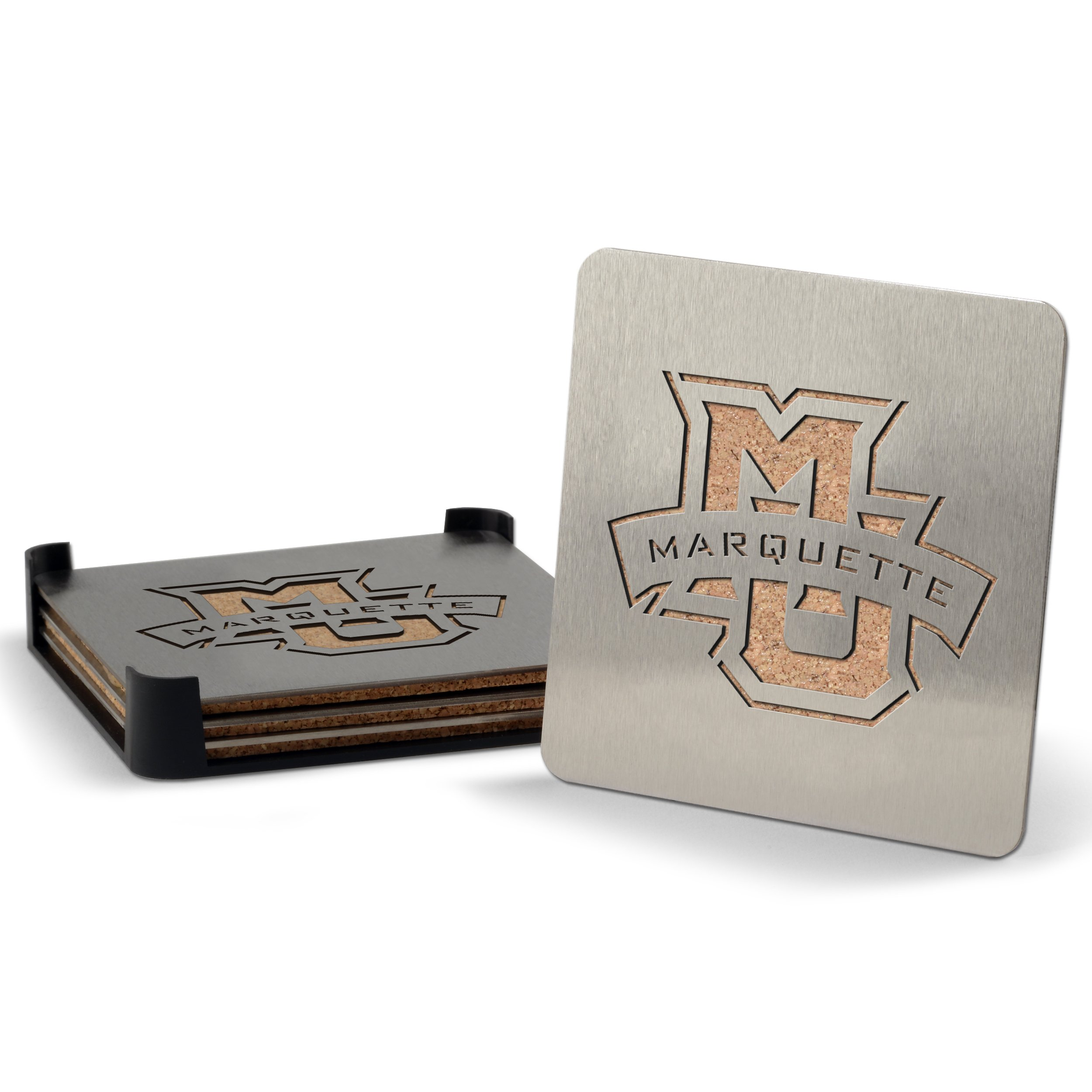YouTheFan NCAA Marquette Golden Eagles 4-Piece Stainless Steel Boaster Drink Coaster