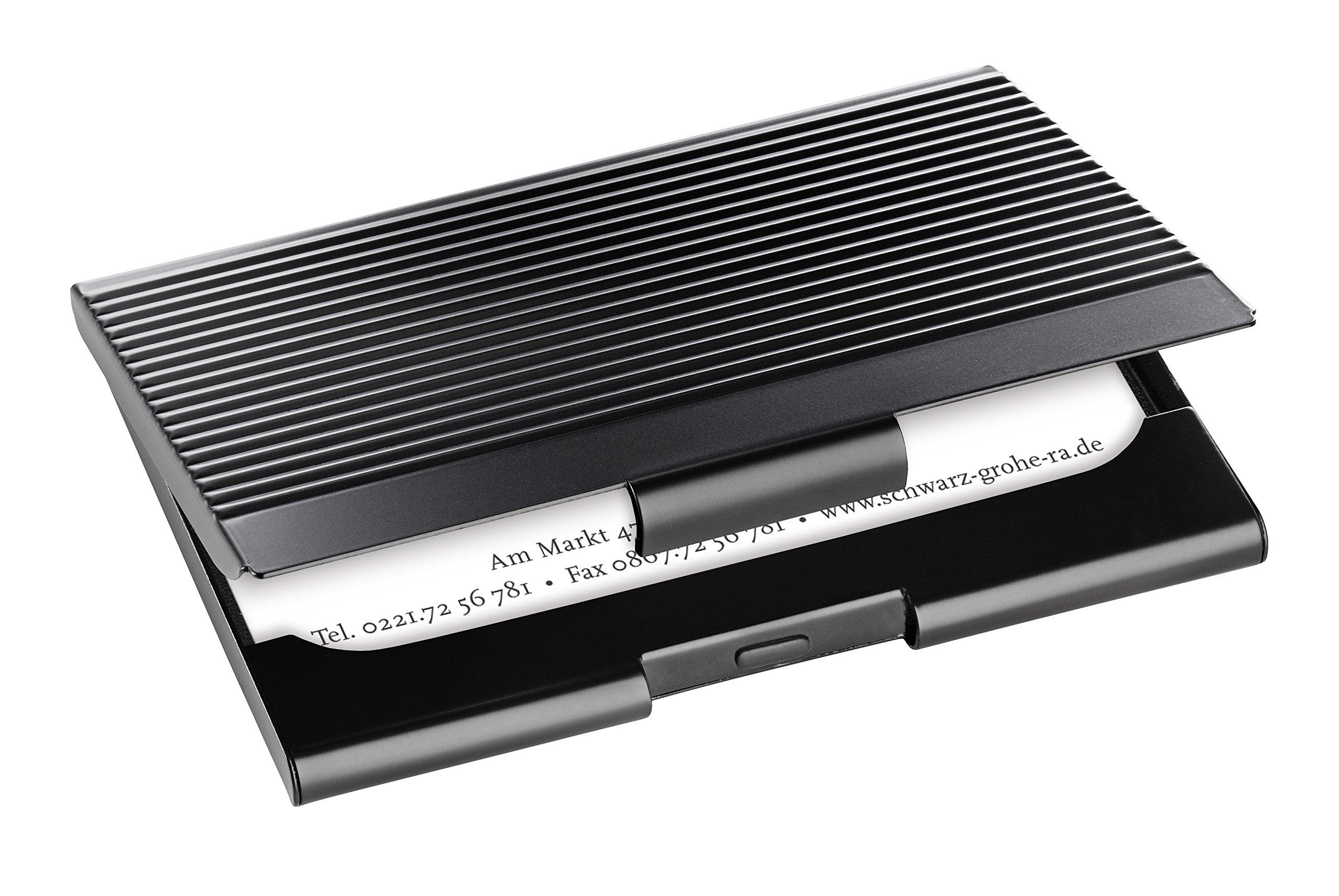 Sigel VZ134 - Porta-tarjetas de visita, superficie metálica rayada, para 12 tarjetas