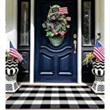 EARTHALL Buffalo Plaid Outdoor Rug 27.5 x 43 Inches Cotton Hand-Woven Checkered Front Door Mat, Washable Outdoor Rugs for Lay