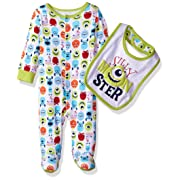 Disney Baby Boys' Monsters Inc Footie Sleeper and Bib Set, Green, 0-3 Months
