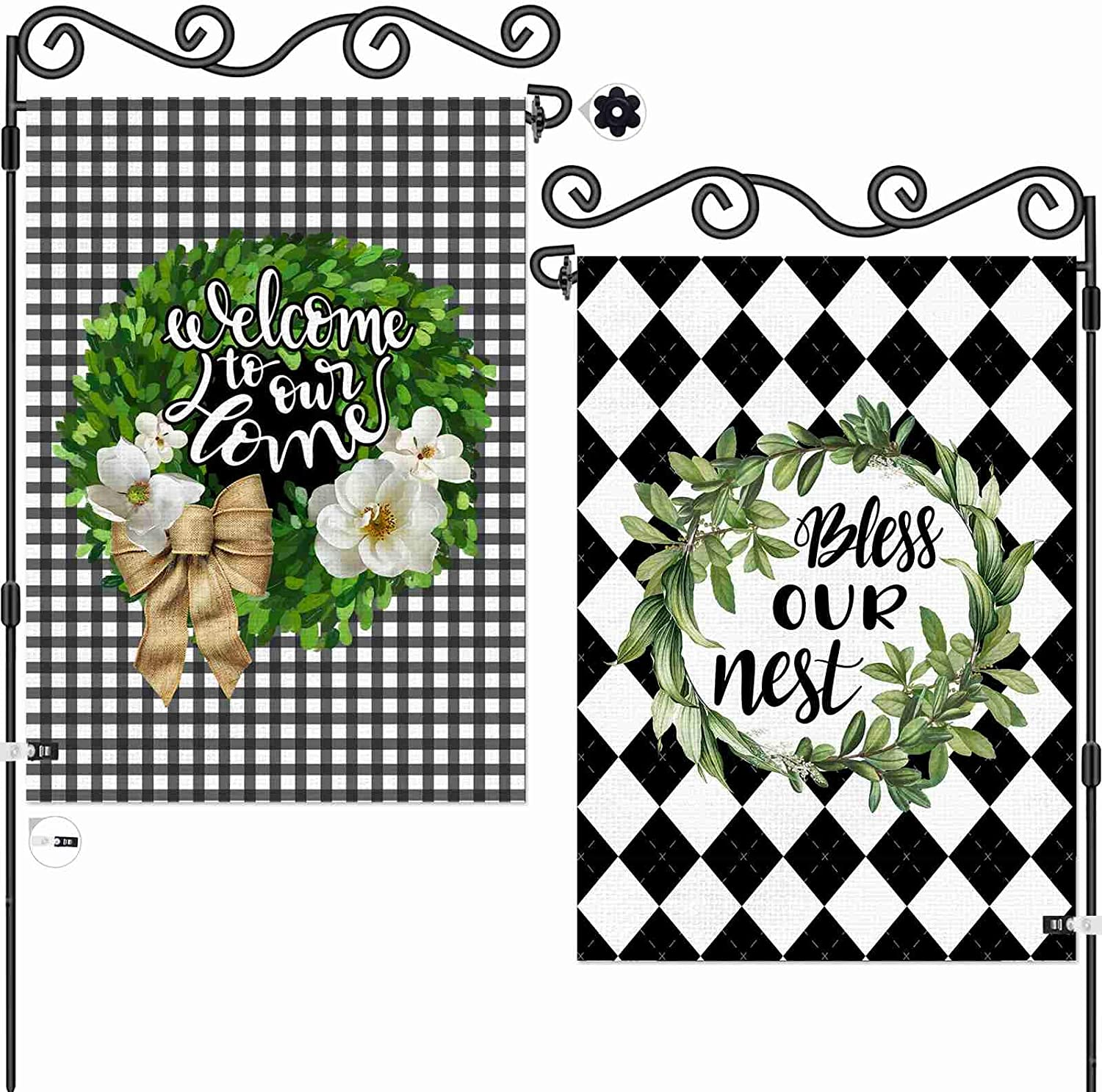 AOKDEER Seasonal Boxwood Wreath Welcome Garden Flag 12.5x18 Prime, 2-in-1 Double Sided Burlap Buffalo Check Plaid House Flags, Rustic Farmhouse Sweet Home Yard Signs Gift for Patio Lawn Outdoor Decor