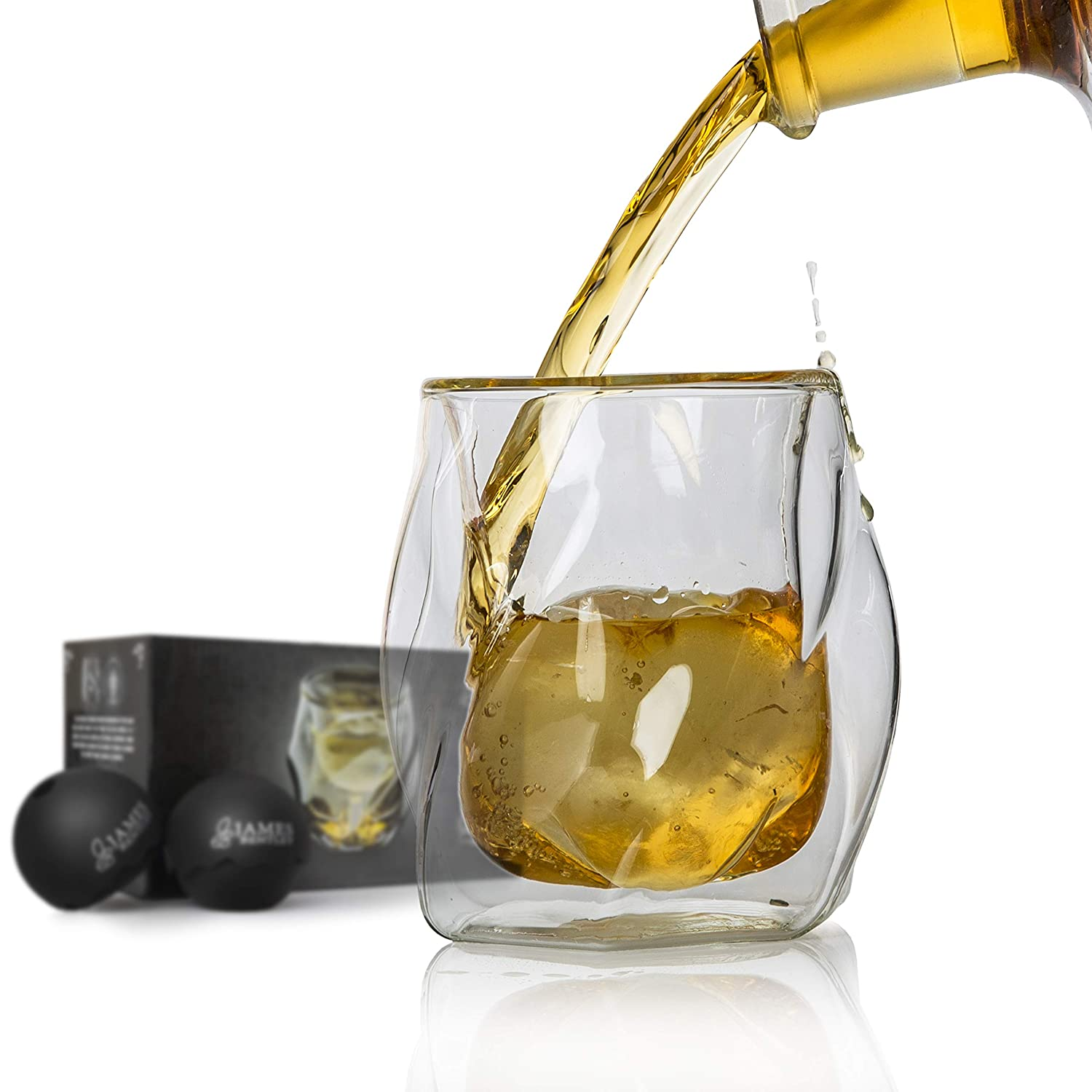 James Bentley Double Wall Whiskey Glasses set+FREE Sphere Ice Ball Mold x2 for whisky glasses set, Set of 2, Unique Tumblers for Drinking Scotch, Bourbon, Brandy, Liquor, Luxury Gift Set James Bentley Trading
