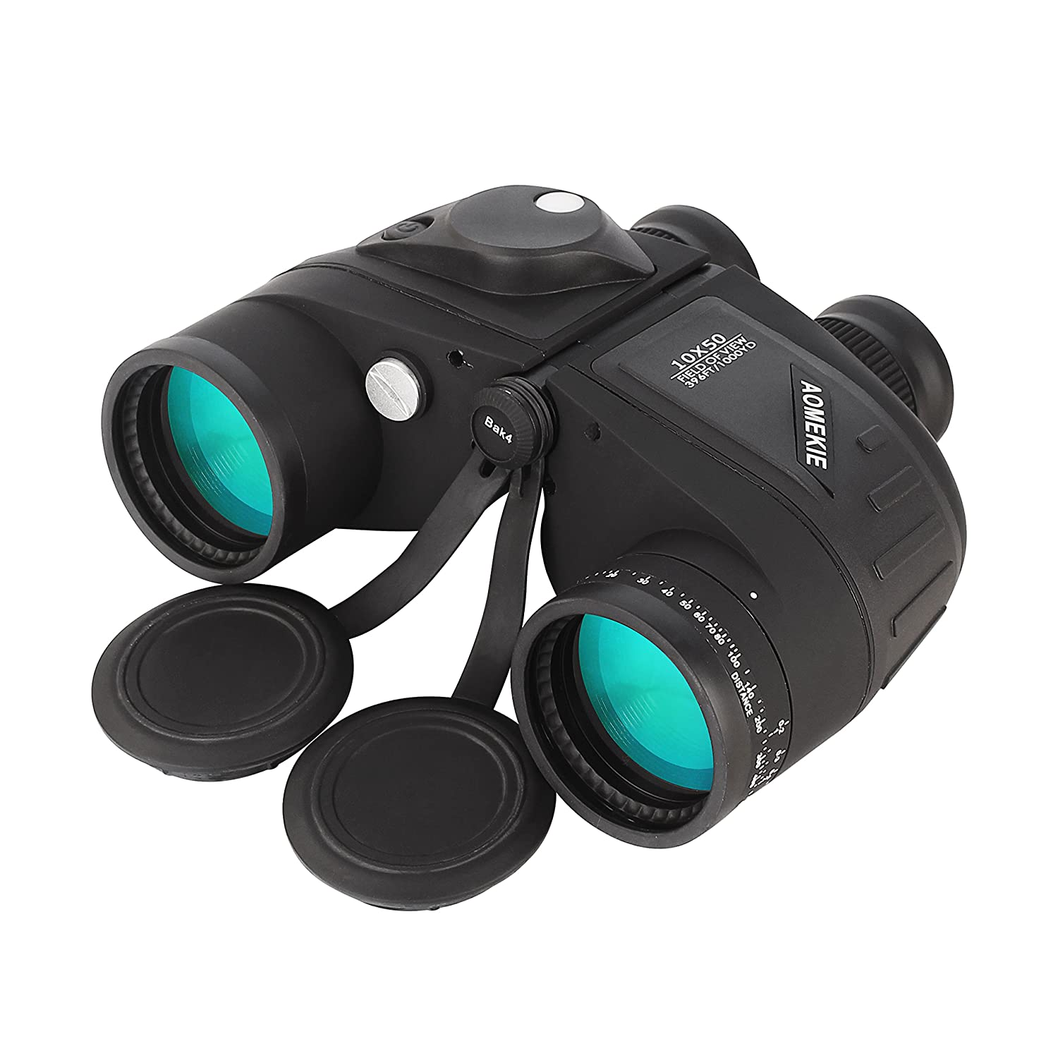 Aomekie 10X50mm Top Grade Floating Marine Military Binoculars with Rangefinder Scale and Illuminated Compass Waterproof/ Fogproof For Navigation, Boating, Fishing, Water Sports, Hunting