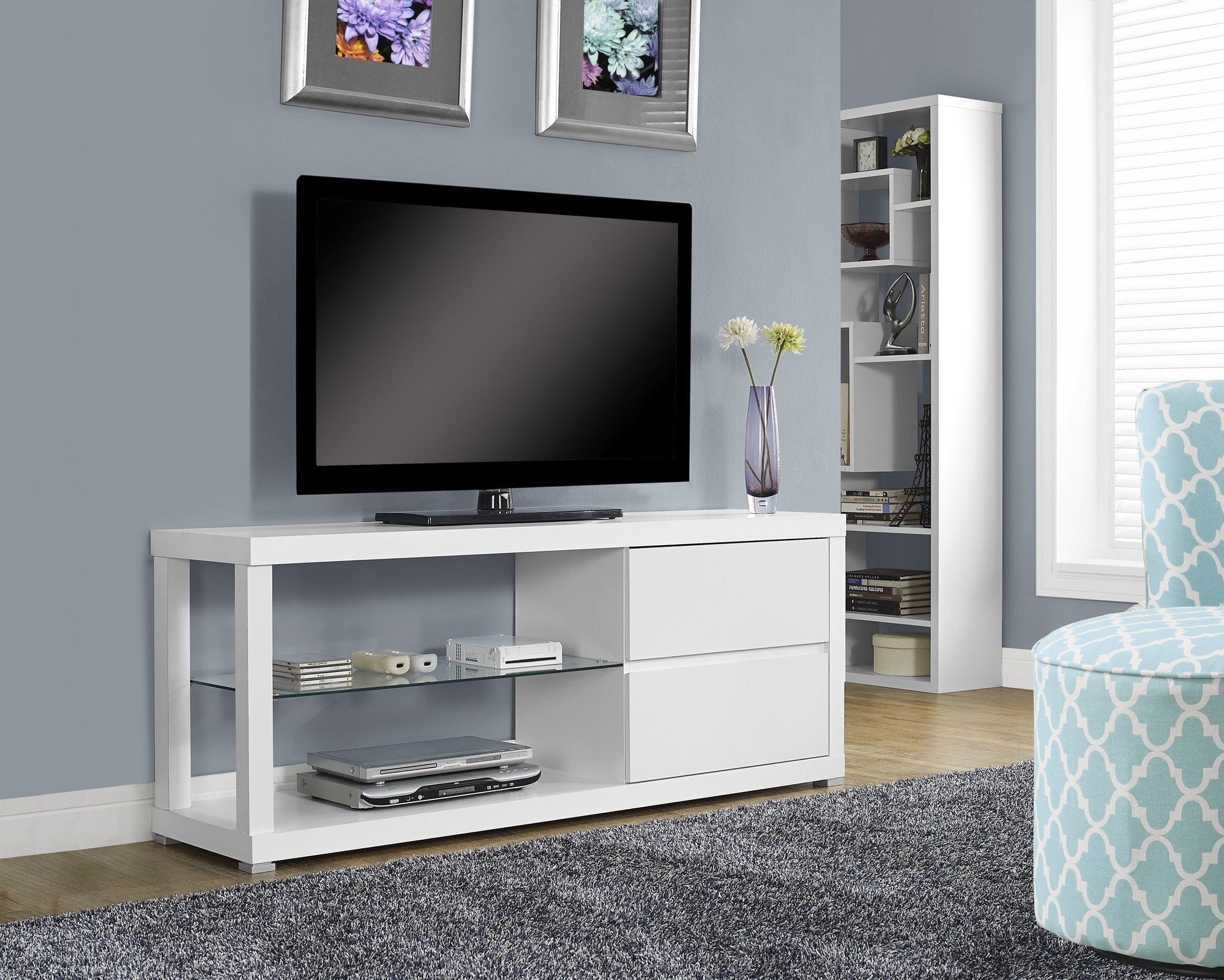Monarch Specialties White Hollow-Core TV Console/Tempered Glass, 60-Inch