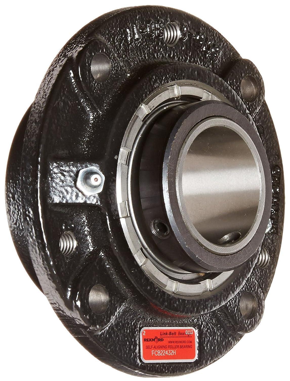 Link-Belt FCB22432H Spherical Roller Bearing Piloted Flange Unit Cast Iron Spring Locking Collar Inch 4 Bolt Holes Relubricatable 2 Bore Diameter Non-Expansion
