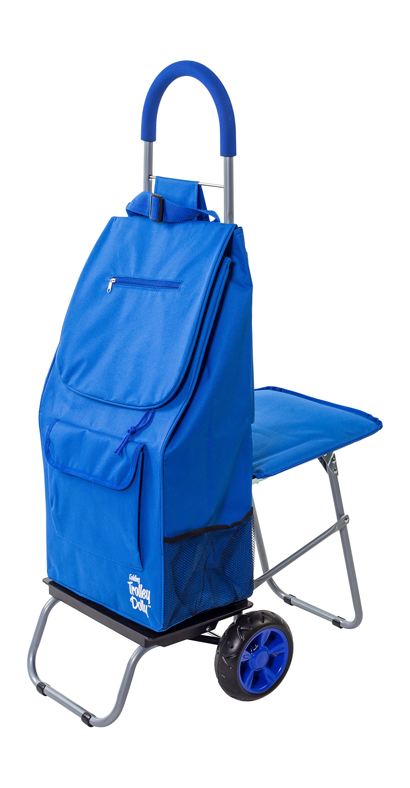 dbest products Trolley Dolly with Seat, Blue Shopping Grocery Foldable Cart Tailgate by dbest products