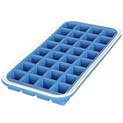 LEVIVO Molde de Silicona para 32 Cubitos de Hielo, Azul, 15 cm