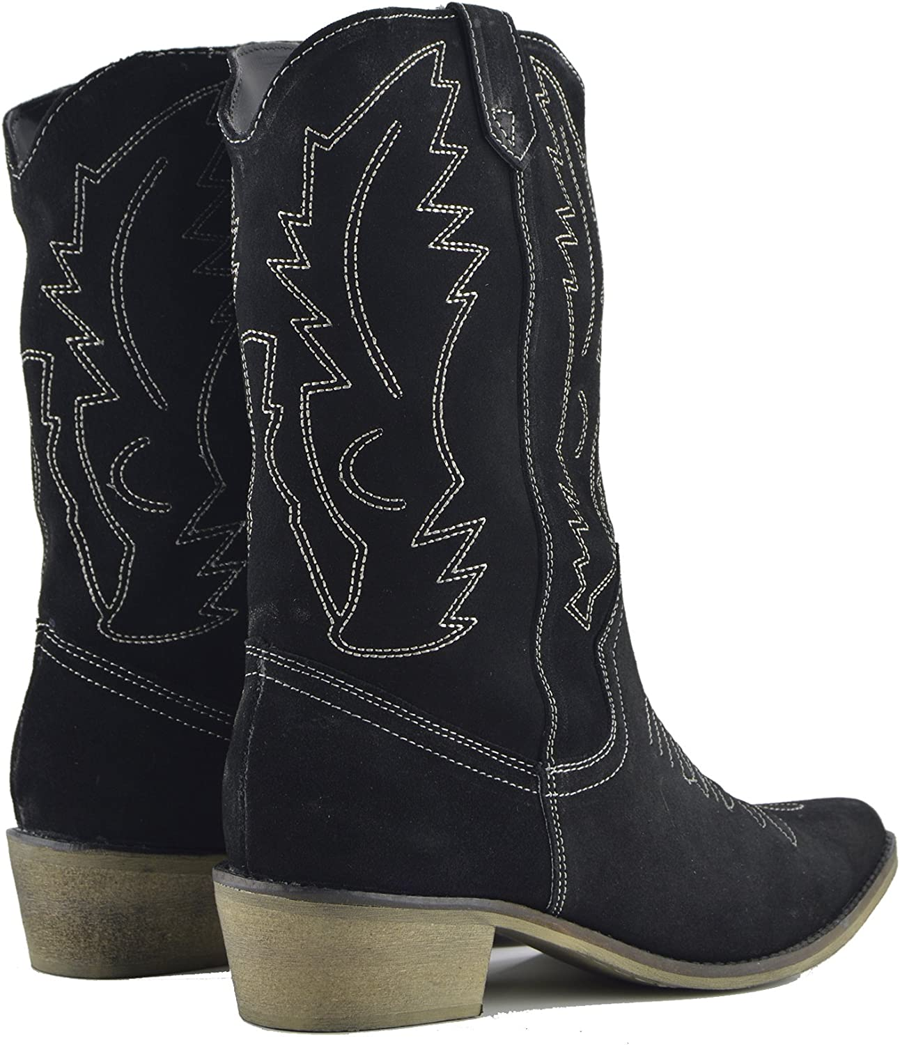 Women's Cowboy Boots Leather Western Wide Calf Cowgirl Shoes Low Heel UK Black Suede