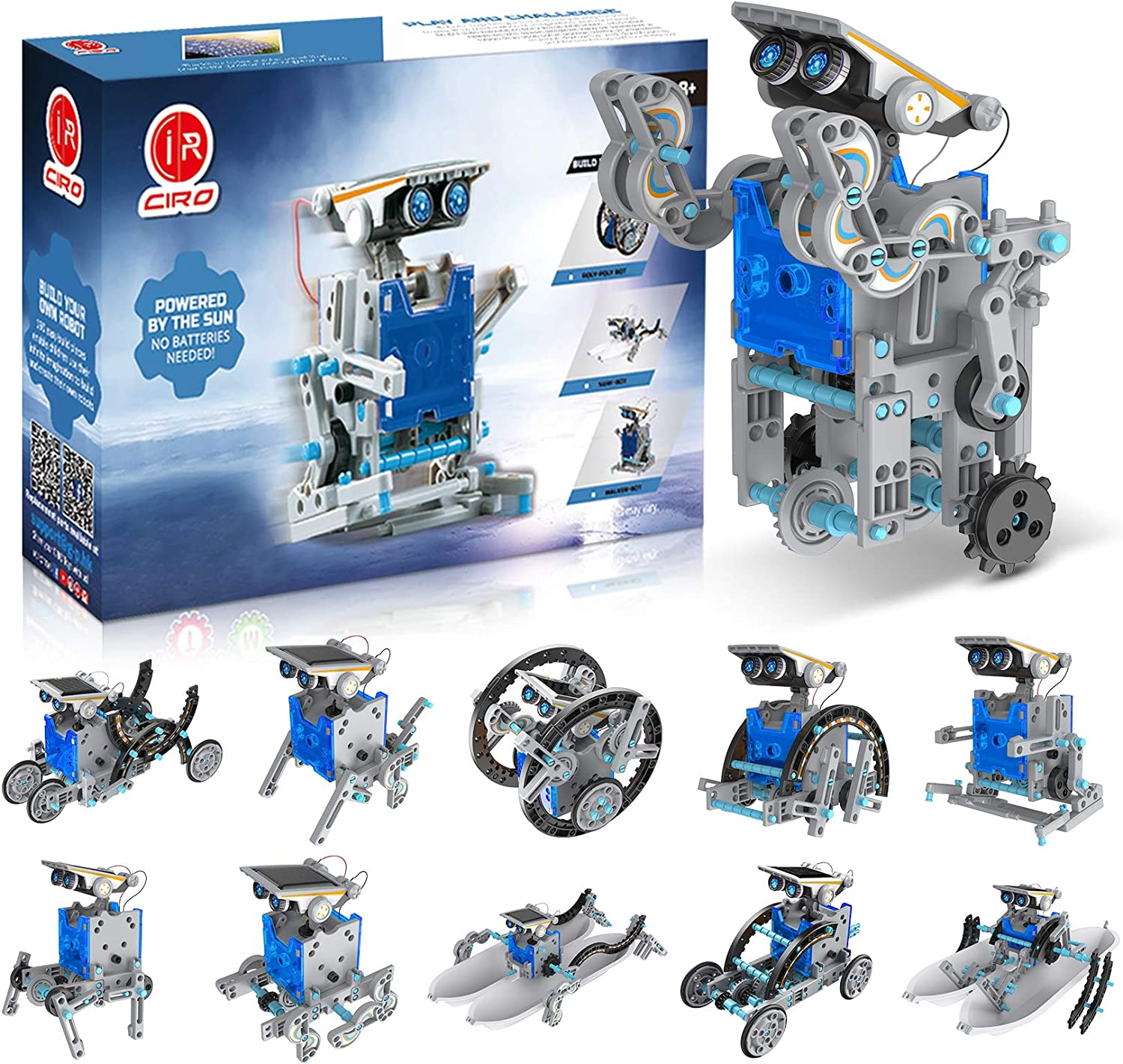 CIRO Solar Robot Toys, STEM Toys Projects for Kids Ages 8-12 and Older, Science Building Educational Gifts for Boys 8 Years and up
