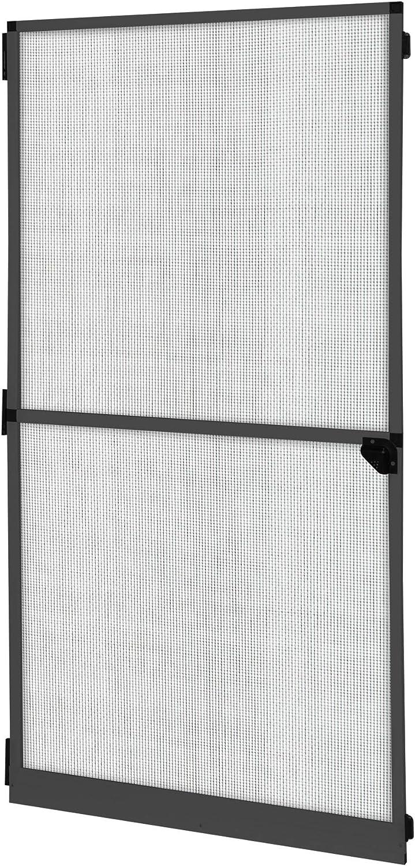 jarolift Profi Line Puerta Mosquitera 120 x 220 cm, Tejido Fibra de Vidrio Negro, Marco de aluminio Color Antracita, Largo y Ancho Acortable