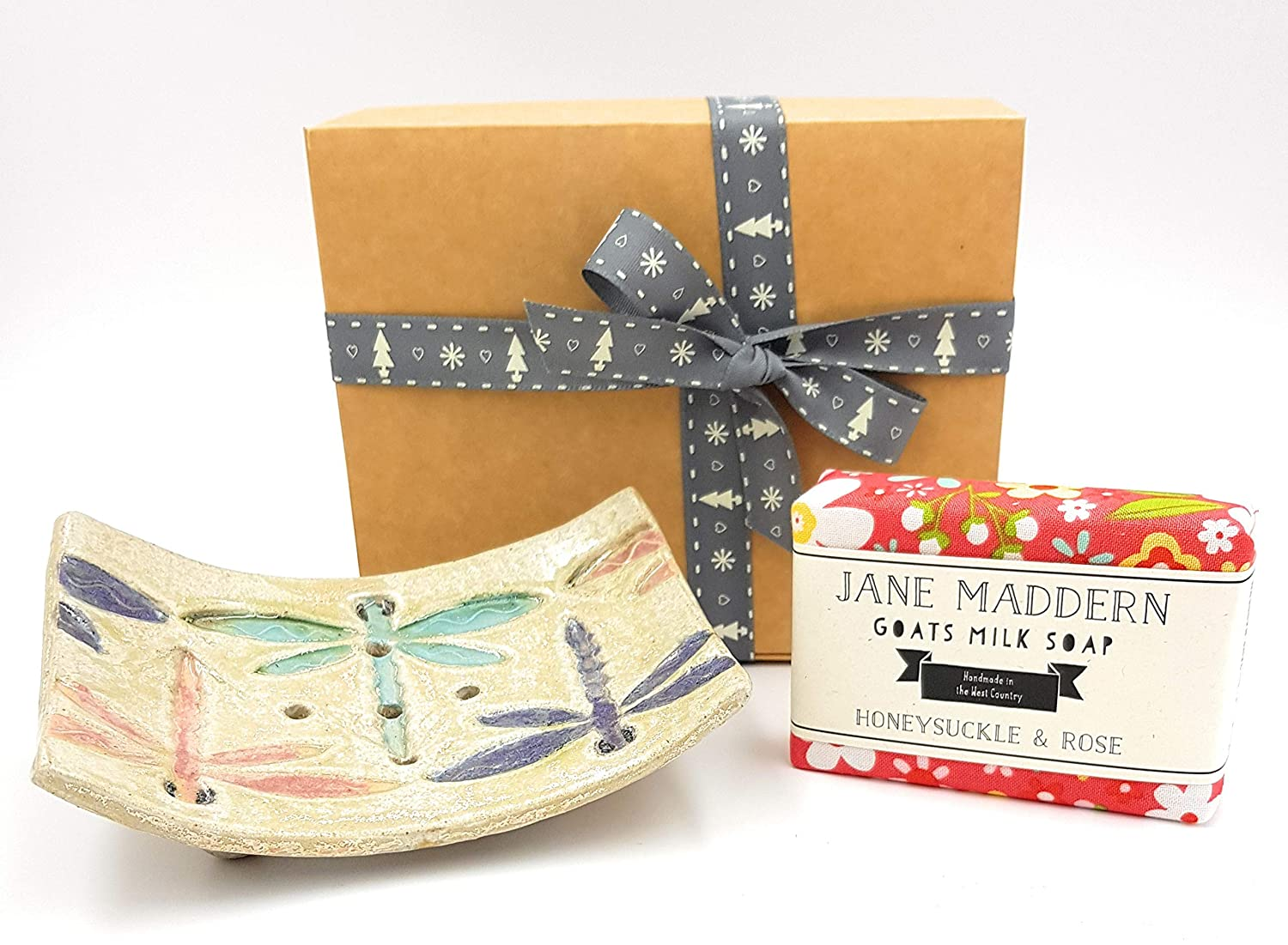 Jane Maddern Handmade Goats Milk Soap & Ceramic 'Dragonfly' Soap Dish Gift Set - Honeysuckle and Rose Soap Fragrance, 90g. A traditionally made, nourishing and moisturising soap. Top quality, ethically sourced ingredients including full cream goats milk, c