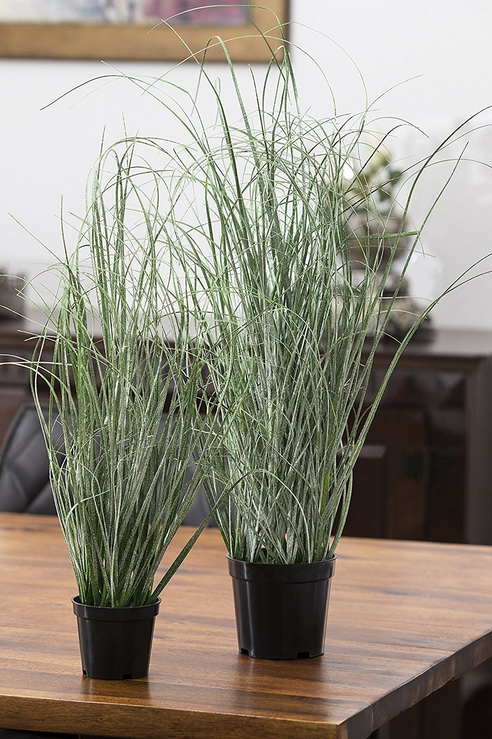 Deutschmade Artificial Plant, Fake Grass Bush including black Pot, 27.5''