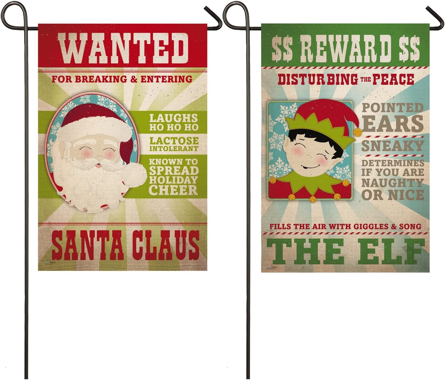 Evergreen Santa and Elf Wanted Signs Outdoor Safe Double-Sided Suede Garden Flag, 12.5 x 18 inches