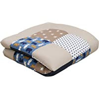 """Soft Padded Baby Play Mat Thick by ULLENBOOM - 40"""" x 40"""" - Bears/Stars - Infant Activity Blanket - Unisex Beige/Blue"""